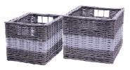 Ablagekorb grau/weiß Set/2 aus Weide mit Eingriffe