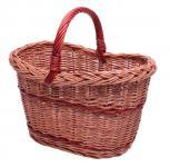 Einkaufskorb gesottene Vollw. mit roten Streifen und Henkel