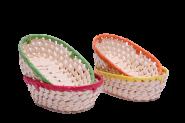 Korbschale Palmblattgeflecht oval mit buntem Rand 4fach sortiert