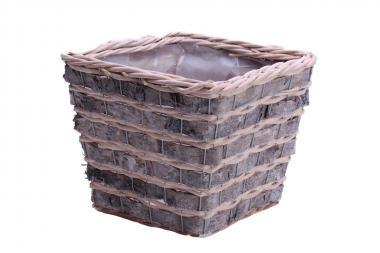 Korbübertopf quadratisch aus grauem Birkengeflecht mit Folieneinsatz