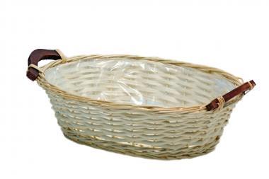 Korbschale oval mit Holzgriff