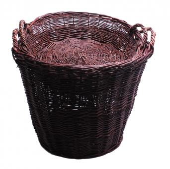 Verkaufskorb mit Korbschale dunkel 50cm