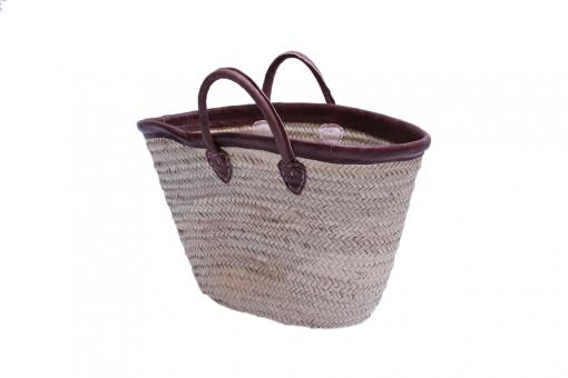 Orig. Marokko exkl. Korbtasche aus Palmgrassgeflecht mit Lederrand