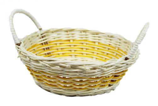 Rattan-Korbschale rund gelb d19cm