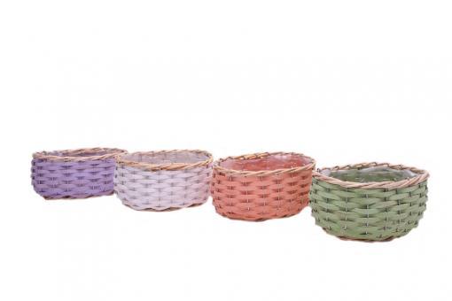 REDUZIERT Pflanzkorb aus Spangeflecht mit hellem Weidenrand oval 4fach farblich sortiert