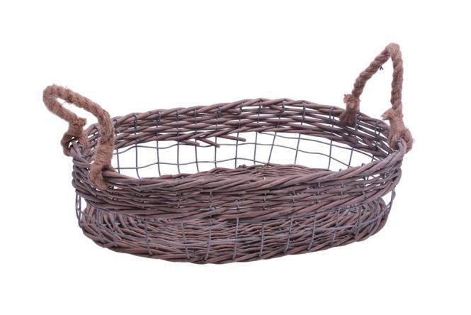 Ablagekorb aus Draht-Weidengeflecht oval