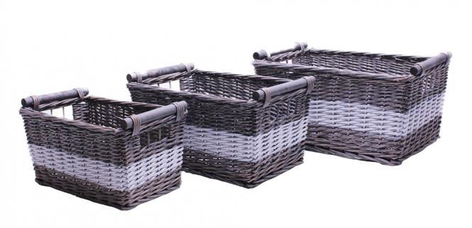 Ablagekorb grau/weiß mit Holzgriff Set/3 aus Weide