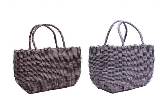 Korbtasche aus Kunststoffgeflecht 2fach farblich sortiert