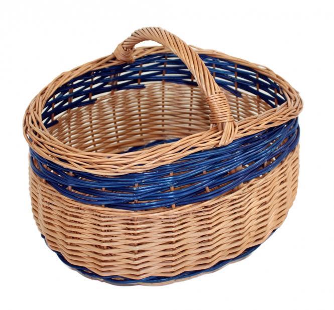 Einkaufskorb mit blauem Streifen gesottene Vollweide