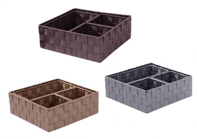 Korbset aus Kunststoffgeflecht Set/4 farblich sort hell-braun