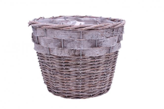Korbübertopf graues Weiden-Rindengeflecht 20cm