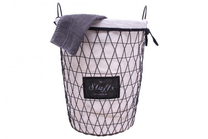 """Wäschekorb """"Stuffs"""" aus schwarzem Drahtgeflecht"""