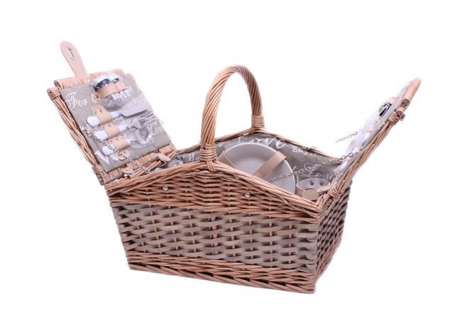 Picknickkorb für 2 Personen Weiden-Spangeflecht