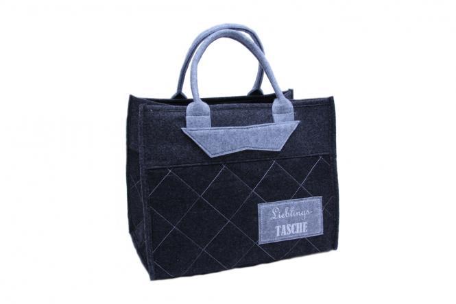 """Filz-Tasche """"Lieblingstasche"""" Vintage grau"""