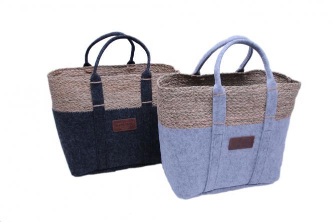 Filz-Tasche mit Seegrasrand und Tragegriff 2fach farblich sortiert