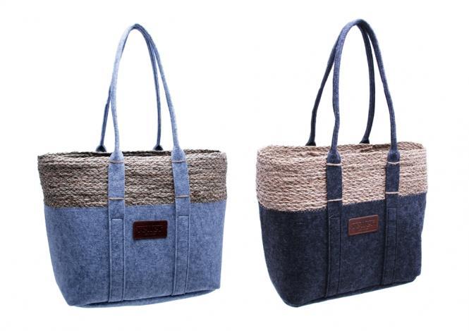 Filz-Tasche mit Seegrasrand und langem Schulterhenkel 2fach farblich sortiert