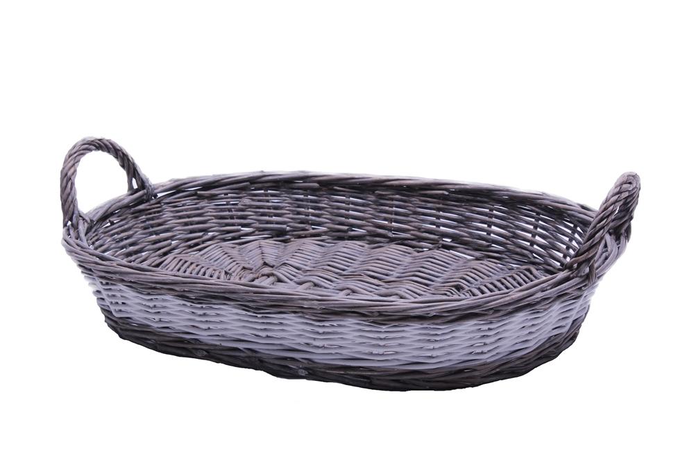 korb korbschale oval weide grau weiss 43cm. Black Bedroom Furniture Sets. Home Design Ideas